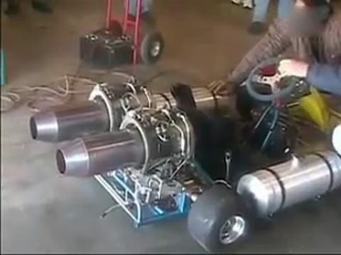 自制喷气动力系列:(3)自制双发喷气卡丁车