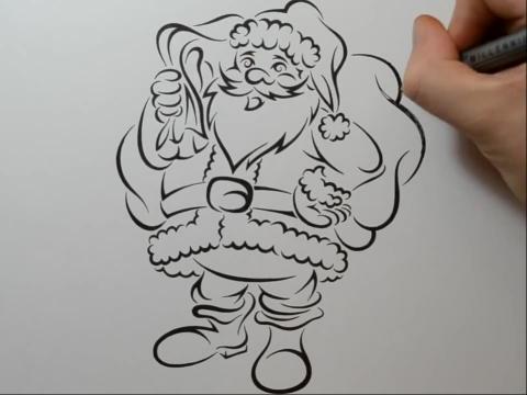手把手教你画纹身drawing santa claus in a tribal ta