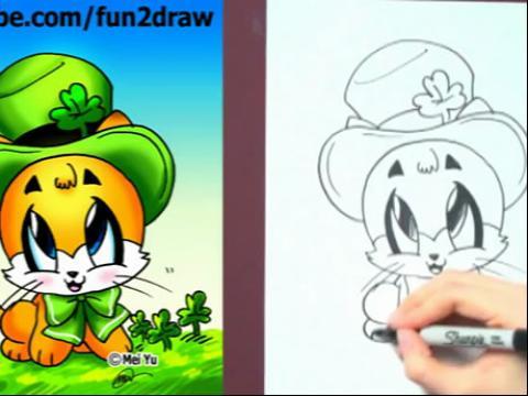 diy手绘画教程:如何画卡通小猫(戴帽子)