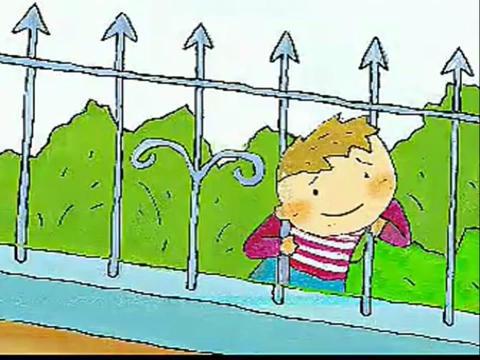 钻爬护栏卡通图片