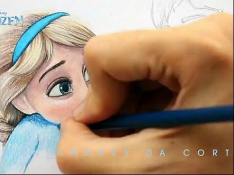 【发现最热视频】牛人手绘《冰雪奇缘》elsa女王和