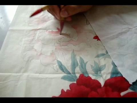牡丹.工笔牡丹花瓣的画法002.工笔牡丹叶子的画法.怎样画高清图片
