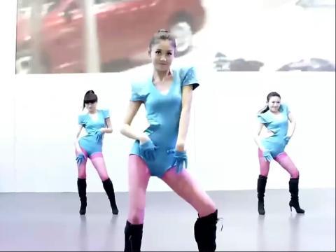 广场热舞―蓝衣连体粉红丝袜