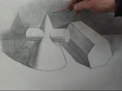 素描几何形体六棱柱的组合(流畅)