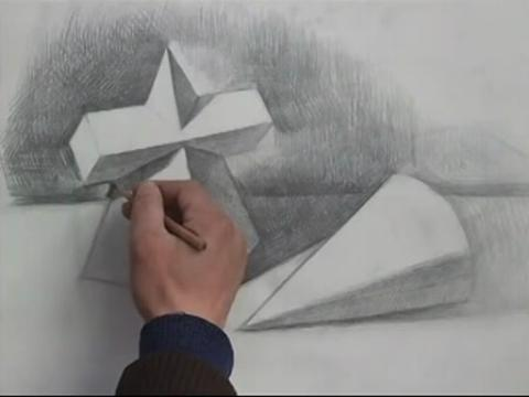 素描几何形体四棱锥方柱穿插.圆锥组合(流畅)