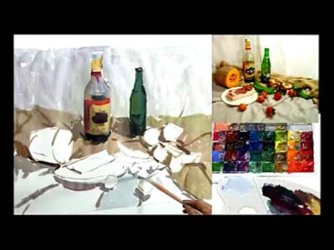 色彩静物写生2水彩静物 视频 教程 教学 293x220-水彩视频教学图片
