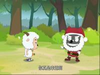 简笔画勾勒的圣诞老人和爱意满满的麋鹿