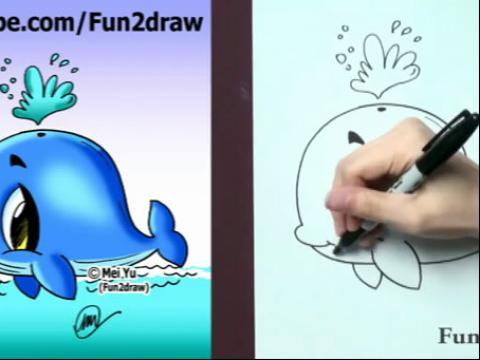 diy手绘画教程:如何画卡通蓝鲸