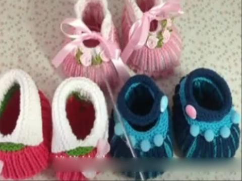 针织编织 可爱双元宝宝宝鞋