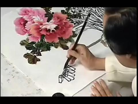 中国画牡丹的画法技法教学视频(国画教程)