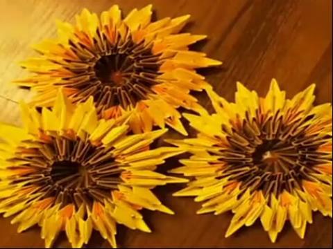 折纸大全◆diy手工 折纸 立体3d 向日葵