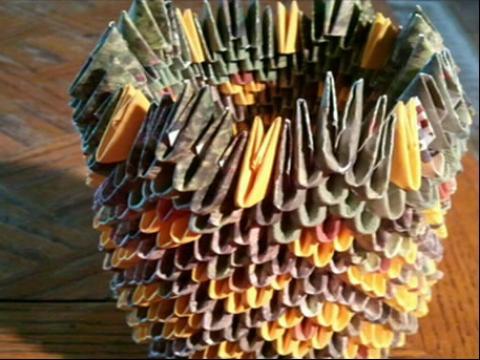 折纸大全◆diy手工折纸立体菠萝3d 折法教学视频