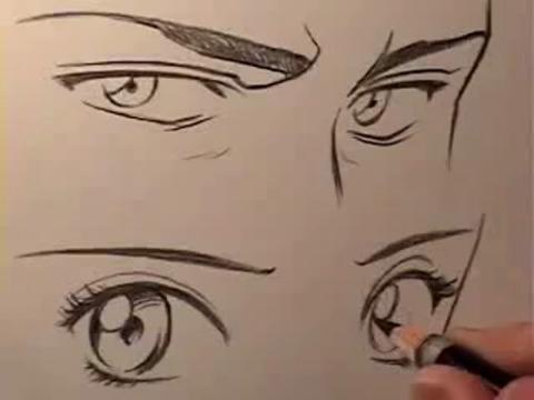 手绘视频教程,绘画教程—漫画中男女眼睛的区别