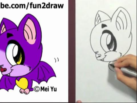 diy手绘画教程:如何画卡通蝙蝠