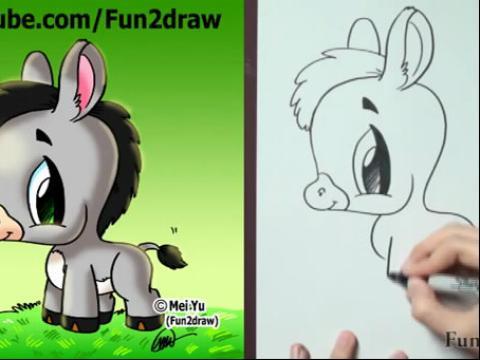 diy手绘画教程:如何画卡通小驴